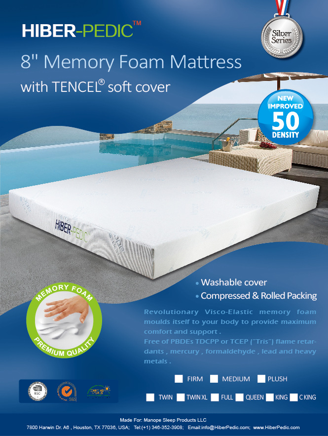 "new arrival 171f2 b6646 8"" Memory Foam Mattress with TENCEL soft cover"